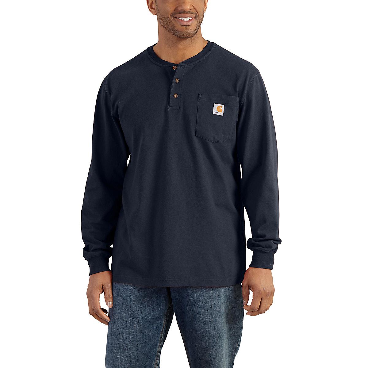 Men 39 s long sleeve workwear henley k128 carhartt for Carhartt work shirts tall