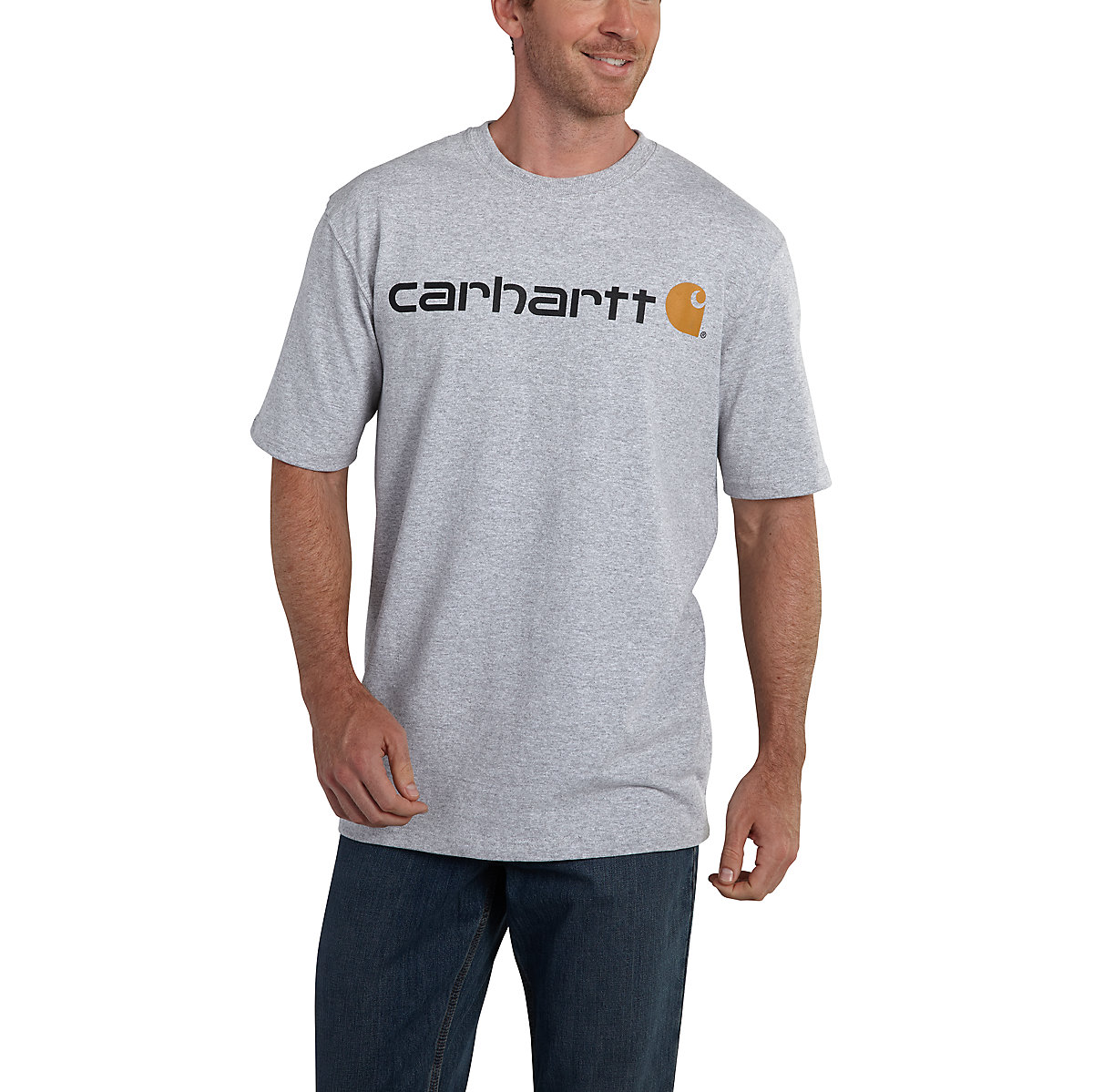 Men 39 s short sleeve logo t shirt k195 carhartt for Carhartt burgundy t shirt