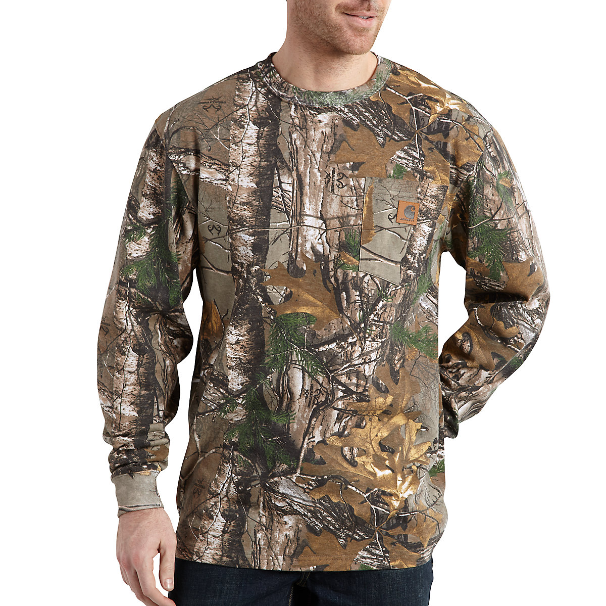 men 39 s realtree xtra camo long sleeve t shirt k285 carhartt. Black Bedroom Furniture Sets. Home Design Ideas