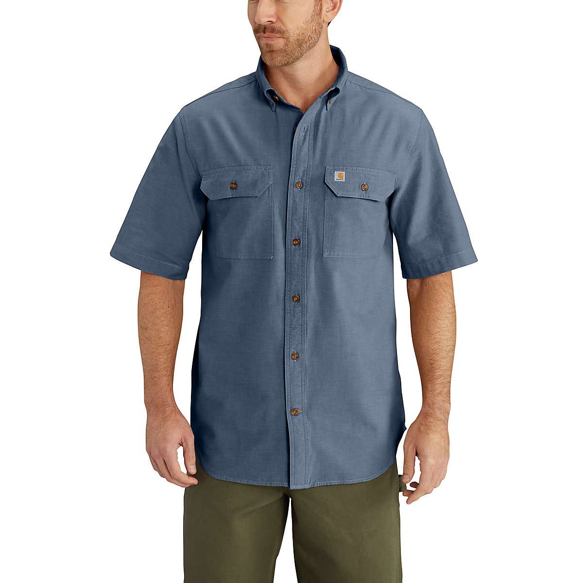 Men 39 s short sleeve chambray shirt s200 carhartt for Chambray 7 s