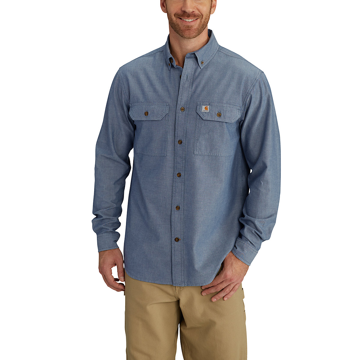 Men 39 s fort long sleeve chambray shirt s202 carhartt for Chambray 7 s
