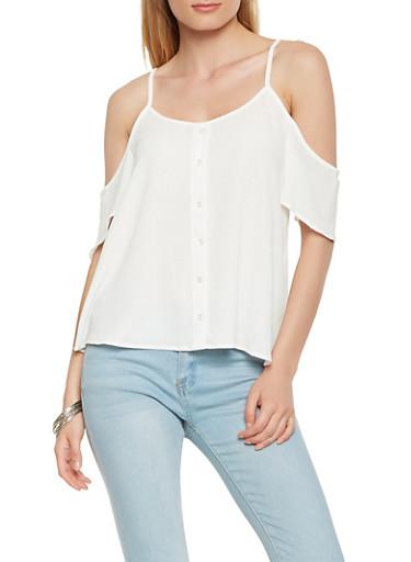 Faux Button Front Cold Shoulder Top,WHITE,large
