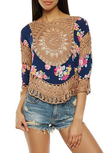 Floral Crochet Dolman Sleeve Top,NAVY,large