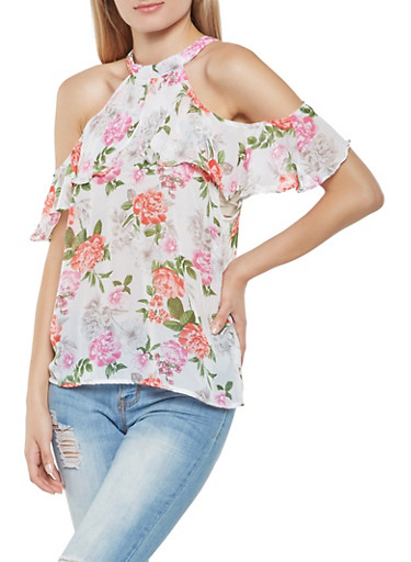 Printed Ruffled Cold Shoulder Top,IVORY,large