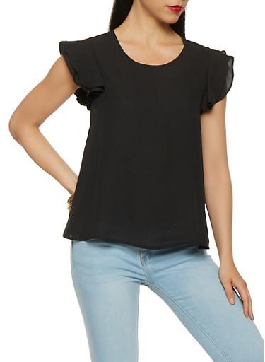 Ruffle Sleeve Crepe Knit Blouse,BLACK,large