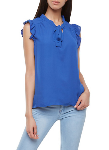 Ruffled Tie Neck Blouse | Tuggl