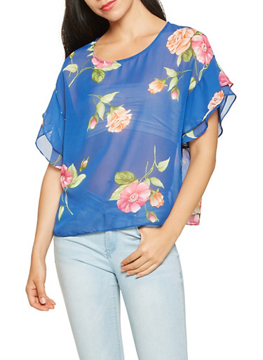 Tiered Sleeve Floral Blouse,NAVY,large