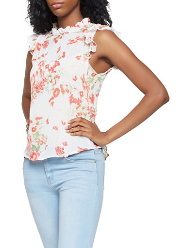 Ruffle Trim Floral Blouse,IVORY,large