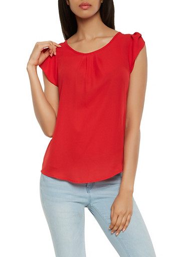 Tulip Cap Sleeve Blouse,RED,large