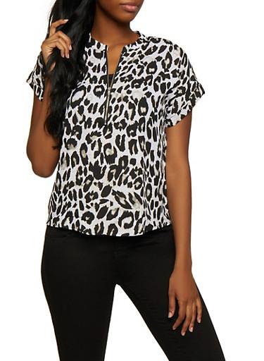 Cheetah Print Zip Neck Top,BLACK/WHITE,large