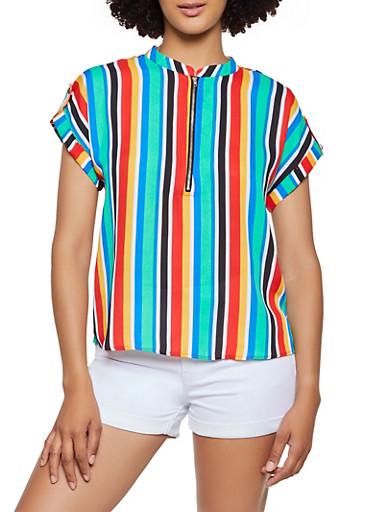 Striped Zip Neck Top,MULTI COLOR,large