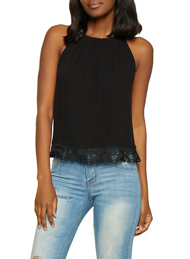 Sleeveless Crochet Trim Top,BLACK,large