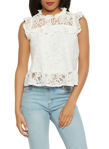 Ruffled Lace Top,WHITE,large