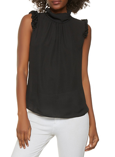 Ruffled Mock Neck Blouse,BLACK,large