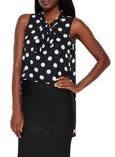 Polka Dot Tie Neck High Low Top,BLACK/WHITE,large