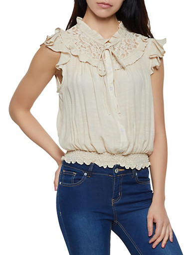 Lace Yoke Button Front Top,NATURAL,large