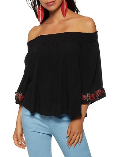 Floral Embroidered Sleeve Off the Shoulder Top,BLACK,large