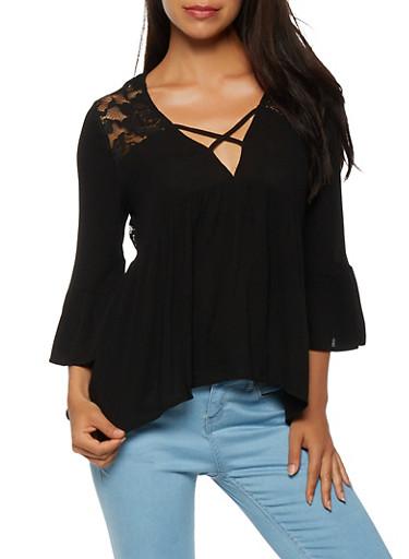 Lace Back Three Quarter Sleeve Top,BLACK,large