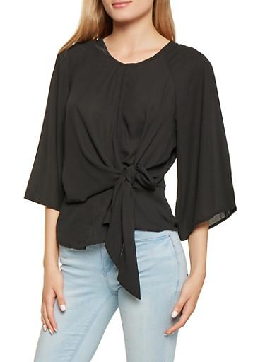 Slit Back Tie Front Blouse,BLACK,large