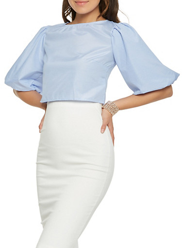 Bubble Sleeve Zip Back Crop Top,WHITE/BLUE,large