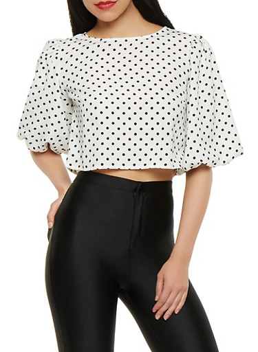 Polka Dot Zip Back Crop Top,WHT-BLK,large
