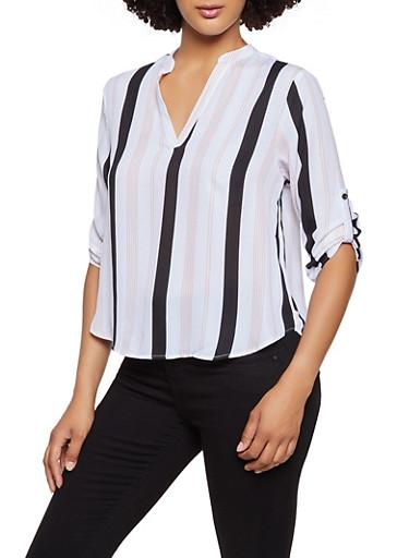 Striped V Neck Top,BLACK,large