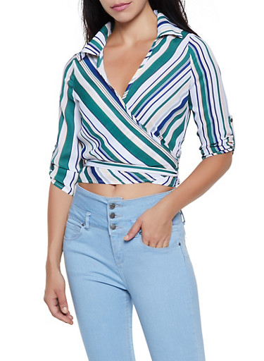 Striped Three Quarter Sleeve Wrap Top,HUNTER,large