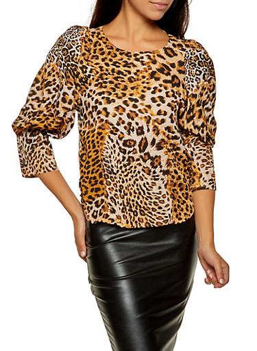 Cheetah Print Balloon Sleeve Blouse,BROWN,large