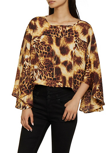 Cheetah Print Bell Sleeve Top,BROWN,large