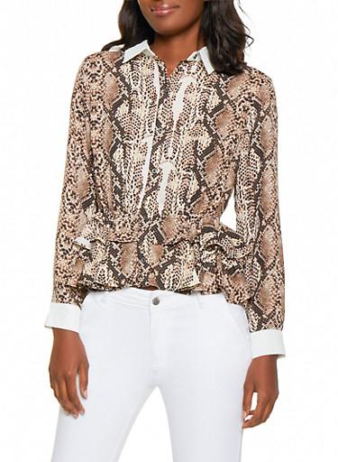 Tiered Snake Print Peplum Shirt,BROWN,large