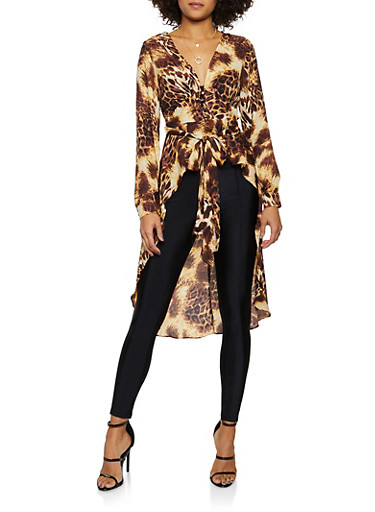 Animal Print Tie Waist High Low Top,BROWN,large