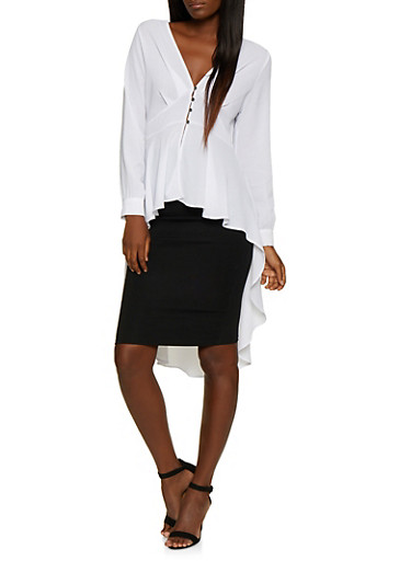 Button Front High Low Peplum Top,WHITE,large