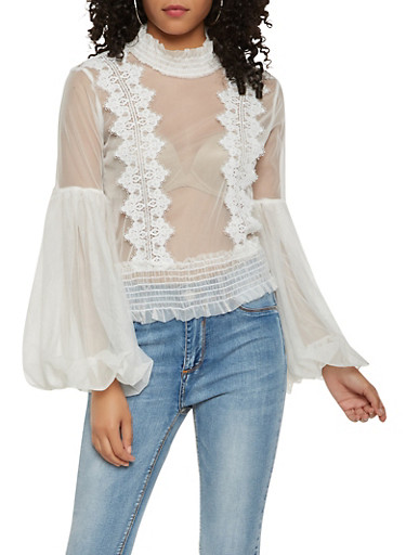 Mesh Bell Bubble Sleeve Top,WHITE,large