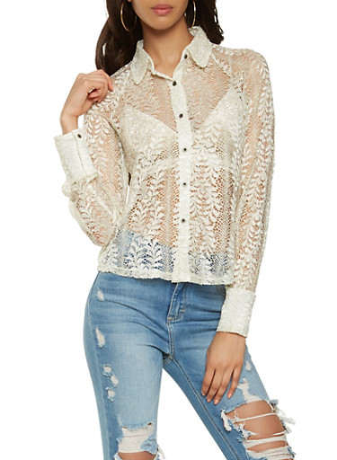 Metallic Knit Lace Shirt,WHITE,large