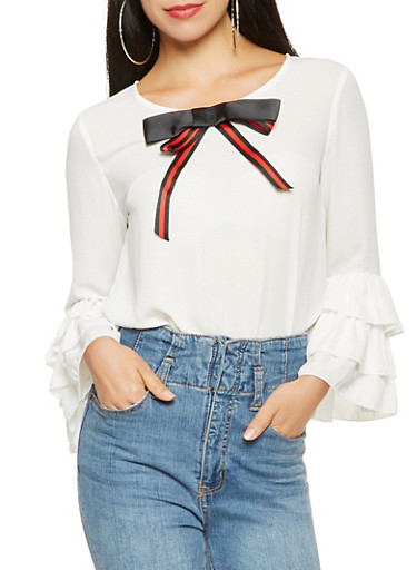 Ribbon Bow Detail Blouse,WHITE,large