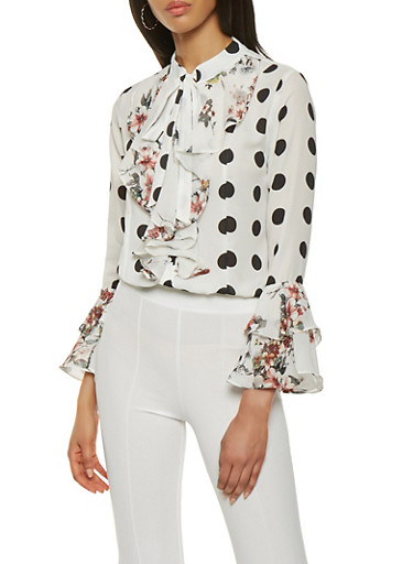Floral Polka Dot Tie Neck Blouse,WHITE,large