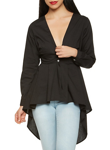 Tie Back High Low Maxi Top,BLACK,large