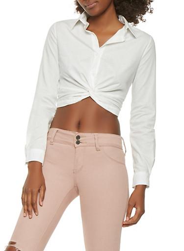 Twist Button Front Crop Top,WHITE,large