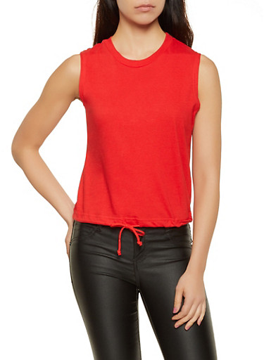 Drawstring Hem Sleeveless Top,RED,large