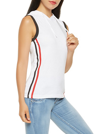 Side Stripe Hooded Tank Top,WHITE,large