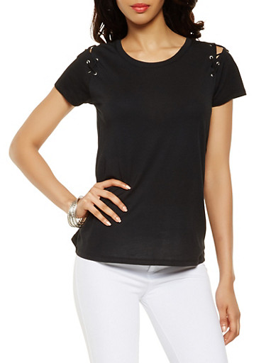Lace Up Sleeve Tee,BLACK,large