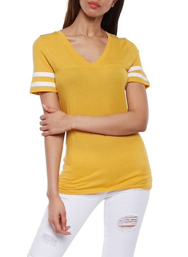 Striped Sleeve Solid Tee,MUSTARD,large