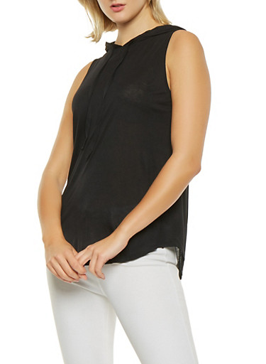 Basic Hooded Tank Top,BLACK,large