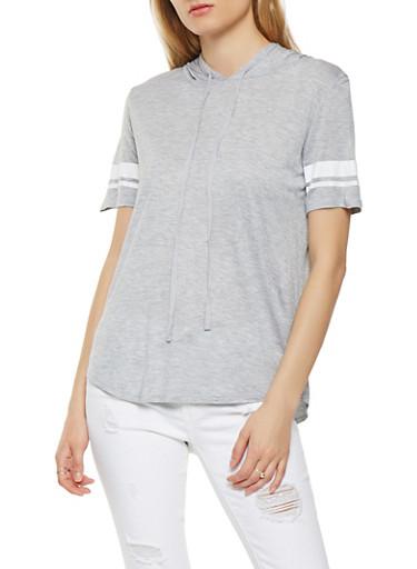 Striped Sleeve Hooded Tee,HEATHER,large