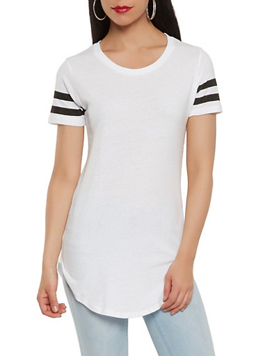 Striped Sleeve Solid Tunic Tee | Tuggl