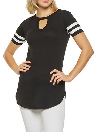 Striped Sleeve Tunic Tee,BLACK,large