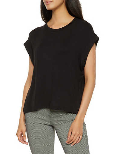 Solid Dolman Sleeve Top,BLACK,large