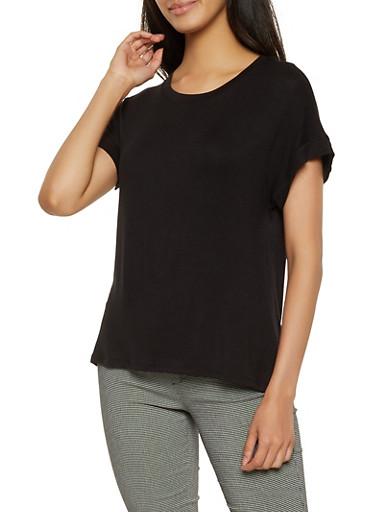 Solid Short Sleeve Tee,BLACK,large