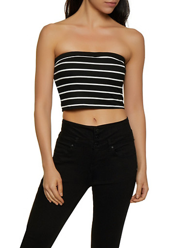 Striped Rib Knit Tube Top,BLACK,large