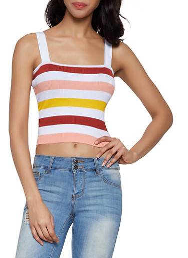 Striped Rib Knit Cropped Top,WHITE,large